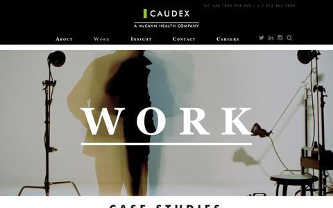 Screenshot of Case Studies Page caudex.com - Work | Caudex - captured Dec. 14, 2018