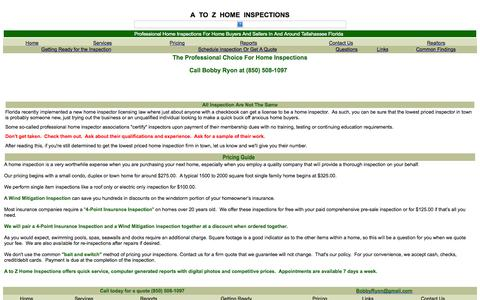 Screenshot of Pricing Page atozhomeinspect.com - Tallahassee Home Inspector - A to Z Home Inspections By Bobby Ryon - Pricing Guide - captured Oct. 3, 2014