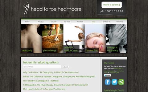 Screenshot of FAQ Page headtotoehealthcare.com.au - FAQs - Head To Toe HealthcareHead To Toe Healthcare - captured Oct. 2, 2014