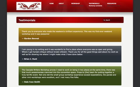 Screenshot of Testimonials Page cascadewriters.com - Testimonials «  Cascade Writers - captured Sept. 29, 2014