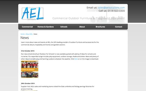 Screenshot of Press Page aelsolutions.com - News   AEL Commercial Outdoor Furniture and Playground Equipment - captured Nov. 2, 2014