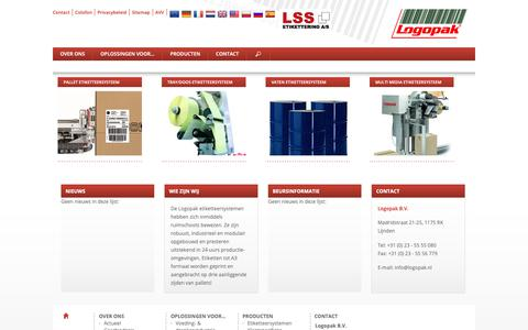 Screenshot of Home Page logopak.nl - Logopak: etiketteersystemen, speciale machinebouw - captured Sept. 29, 2018