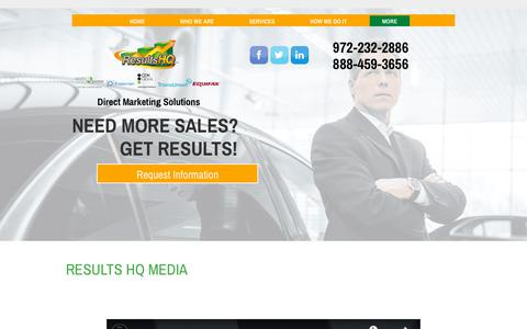 Screenshot of Press Page resultshq.com - Results HQ  - Direct Mail Marketing Solutions - captured Oct. 20, 2018