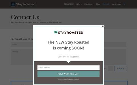 Screenshot of Contact Page stayroasted.com - Contact Us - Stay Roasted - captured Aug. 4, 2015