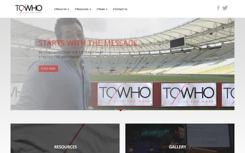 Screenshot of Home Page towho.org - Start - ToWho Live For More - captured Sept. 24, 2018