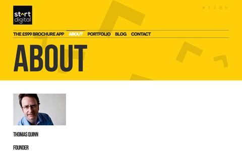 Screenshot of About Page startdigitalpublishing.com - Start Digital  » About - captured Oct. 7, 2014