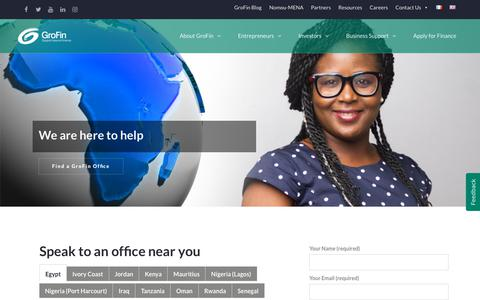 Screenshot of Contact Page grofin.com - Contact GroFin - Get in touch with a GroFin Office near you - captured July 25, 2018
