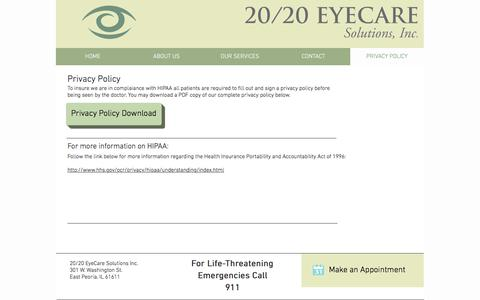 Screenshot of Privacy Page 2020ecs.com - 20/20 EYECARE SOLUTIONS, INC. - PRIVACY POLICY - captured July 6, 2017