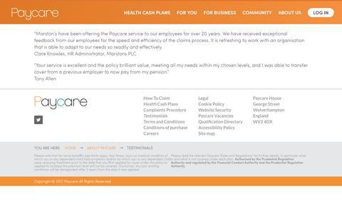 Screenshot of Testimonials Page paycare.org - Testimonials - Paycare - captured Oct. 2, 2017