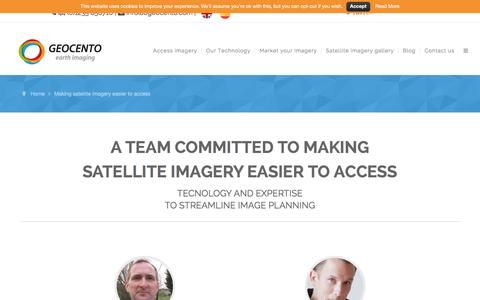 Screenshot of Team Page geocento.com - Making satellite imagery easier to access - captured Dec. 8, 2015