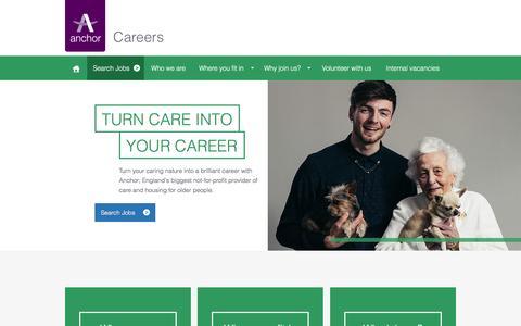 Screenshot of Jobs Page anchor.org.uk - Homepage   Anchor - captured Jan. 31, 2016