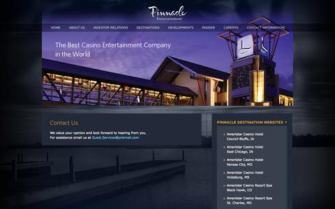 Screenshot of Contact Page pnkinc.com - Contact Us » Pinnacle Entertainment, Inc. - captured Sept. 19, 2014