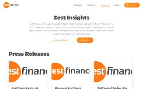 Screenshot of Press Page zestfinance.com - Zest Insights | Press Releases - captured Feb. 20, 2019