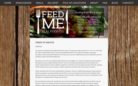 Screenshot of Terms Page feedmerealfood.co - terms of service — Feed Me - Real Food Co. - captured Oct. 5, 2014