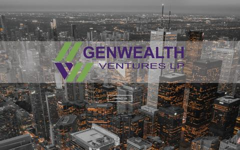 Screenshot of Home Page genwealthlp.com - Genwealth Ventures LP | Entrepreneur-Centric Investment Fund - captured Dec. 14, 2018
