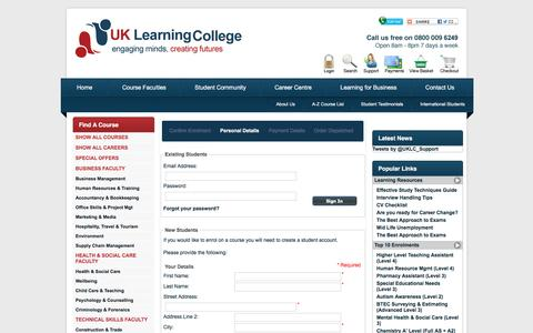 Screenshot of Login Page uklearningcollege.co.uk - Login : UK Learning College, Over 1000 Accredited Home Study, Distance Learning Courses - captured Dec. 15, 2015