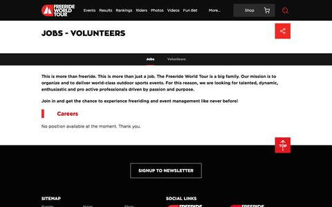 Screenshot of Jobs Page freerideworldtour.com - Jobs - Volunteers | Freeride World Tour - captured Jan. 11, 2018