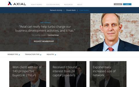 Screenshot of Case Studies Page axial.net - Customer Success - captured Nov. 12, 2015