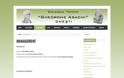 Screenshot of Team Page gasachi.ro - Colegiul Tehnic Gheorghe Asachi Onesti - Management - captured May 27, 2016