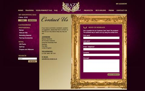 Screenshot of Contact Page crazy-angel.co.uk - Crazy Angel - Contact Us - captured May 14, 2016