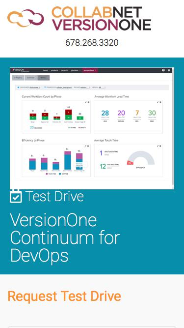Screenshot of Landing Page  versionone.com - VersionOne Continuum for DevOps Test Drive
