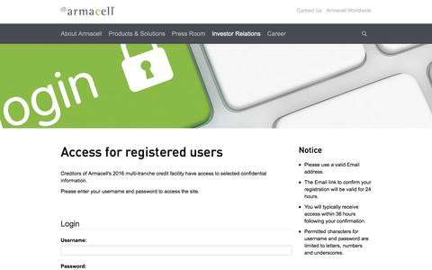 Screenshot of Login Page armacell.com - Login - captured July 30, 2018