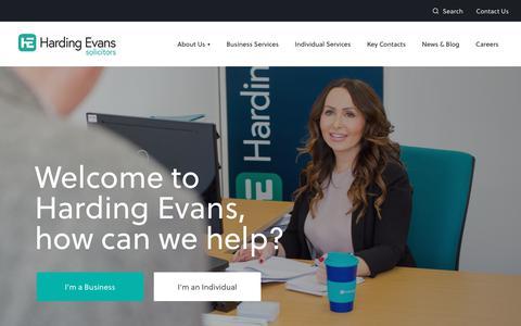 Screenshot of Home Page hardingevans.com - Homepage - Harding Evans Solicitors - captured Dec. 7, 2018
