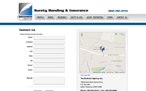 Screenshot of Contact Page brehmeragency.com - Surety Bonding and Insurance Agency | Surety Bonds Permits Licenses | Milwaukee Bonding Agency - captured Sept. 30, 2014