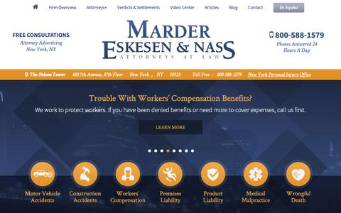 Screenshot of Home Page men-law.com - Personal Injury Law Firm   New York, NY   Marder, Eskesen & Nass - captured Oct. 16, 2018