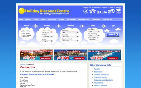 Screenshot of Contact Page holidaydiscountcentre.co.uk - Contact Us - captured Sept. 22, 2014