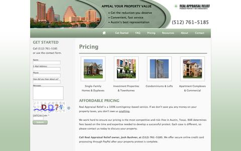Screenshot of Pricing Page realappraisalrelief.com - Real Appraisal Relief | Austin, Texas Property Tax Consultants | Austin Property Appraisal Protest Pricing - captured Oct. 26, 2014