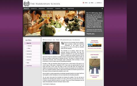Screenshot of Home Page About Page harrodian.com - About Us - captured Oct. 2, 2014
