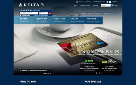 Screenshot of Home Page delta.com - Airline Tickets and Flights to Worldwide Destinations - Delta Air Lines - captured Sept. 19, 2014