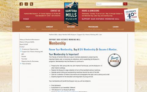 Screenshot of Signup Page hanfordmills.org - Hanford Mills Museum - captured Oct. 1, 2014