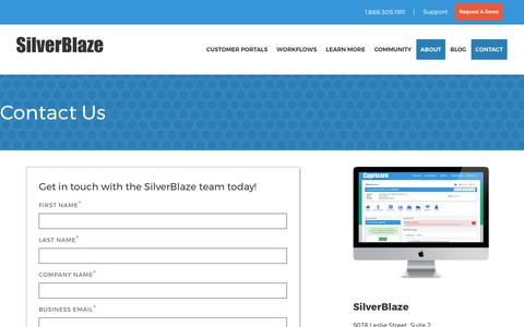 Screenshot of Contact Page silverblaze.com - Contact Silverblaze - captured Oct. 26, 2017