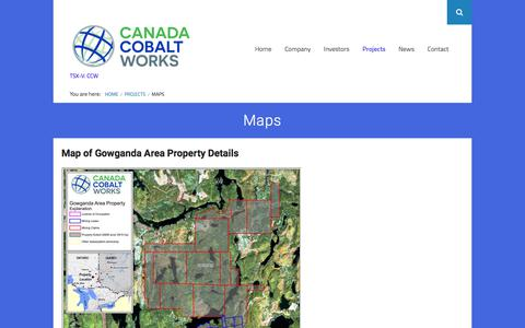 Screenshot of Maps & Directions Page canadacobaltworks.com - Maps – Canada Cobalt Work Inc - captured March 8, 2018