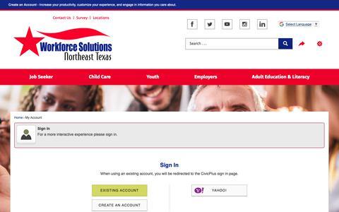 Screenshot of Login Page netxworkforce.org - Workforce Solutions Northeast - Official Website - captured Oct. 20, 2018