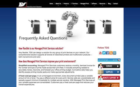 Screenshot of FAQ Page tdsit.com - Managed Print Services | FAQ | - captured Aug. 12, 2016