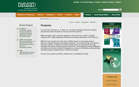 Screenshot of Products Page crbard.com - BARD - Advancing the Delivery of Healthcare® | Products - BARD - captured July 10, 2016