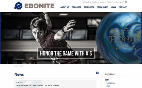 Screenshot of Press Page ebonite.com - News   Ebonite - captured Oct. 1, 2014