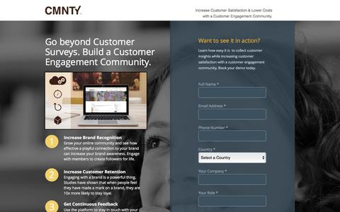 Screenshot of Landing Page cmnty.com - Customer Engagement Community - captured April 19, 2016