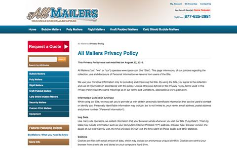 Screenshot of Privacy Page allmailers.com - Privacy Policy - captured July 25, 2016