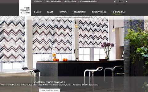 Screenshot of Home Page theshadestore.com - Window Blinds, Shades, & Window Coverings | The Shade Store - captured Oct. 1, 2015