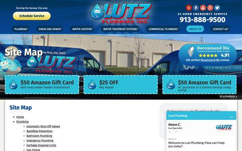 Screenshot of Site Map Page lutzplumbing.com - Site Map | Lutz Plumbing, Inc. - captured Sept. 30, 2018