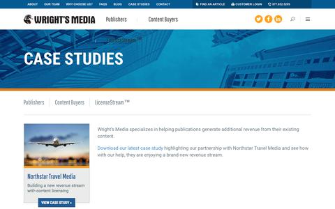 Screenshot of Case Studies Page wrightsmedia.com - Content Licensing Case Studies - captured Sept. 29, 2018