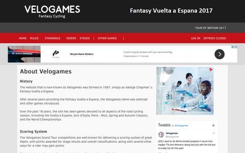 Screenshot of About Page velogames.com - Velogames Fantasy Cycling | Fantasy Vuelta a Espana 2017 - captured Oct. 18, 2017