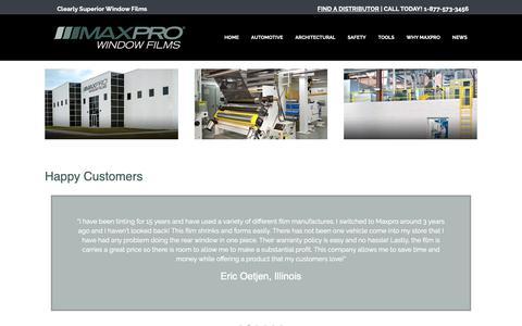 Screenshot of Testimonials Page maxprofilms.com - Happy Customers – Maxpro Films - captured Jan. 11, 2019