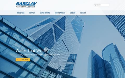 Screenshot of Home Page barclaywater.com - Barclay - captured Oct. 5, 2014