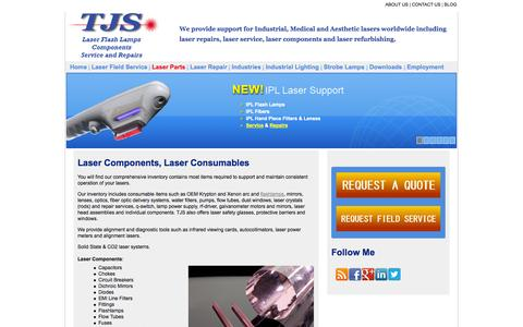 Screenshot of Products Page tjslasers.com - Laser Parts | Laser Components | Laser Spares | Laser Consumables - captured Oct. 6, 2014
