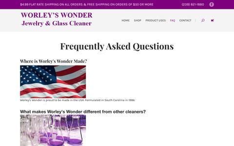 Screenshot of FAQ Page buyworleys.com - FAQ | Worley's Wonder Jewelry & Glass Cleaner - captured June 30, 2018